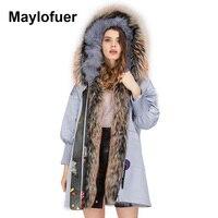 Maylofuer новый большой реальный енот меховой воротник пальто парка с капюшоном Для женщин шуба лисий мех лайнер куртки