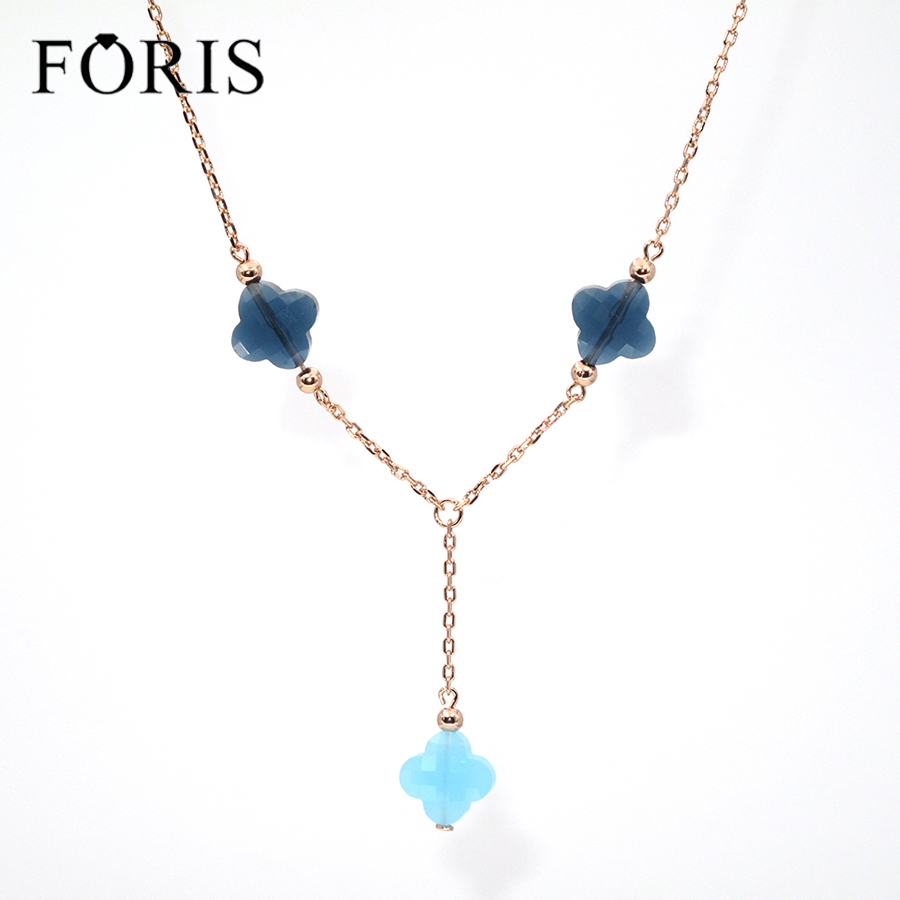 FORIS Fashion Brand Jewerlry 3 Four Leaf Clover Crystal Rose Gold Long Necklace For Women Gift 6 Colors PN030