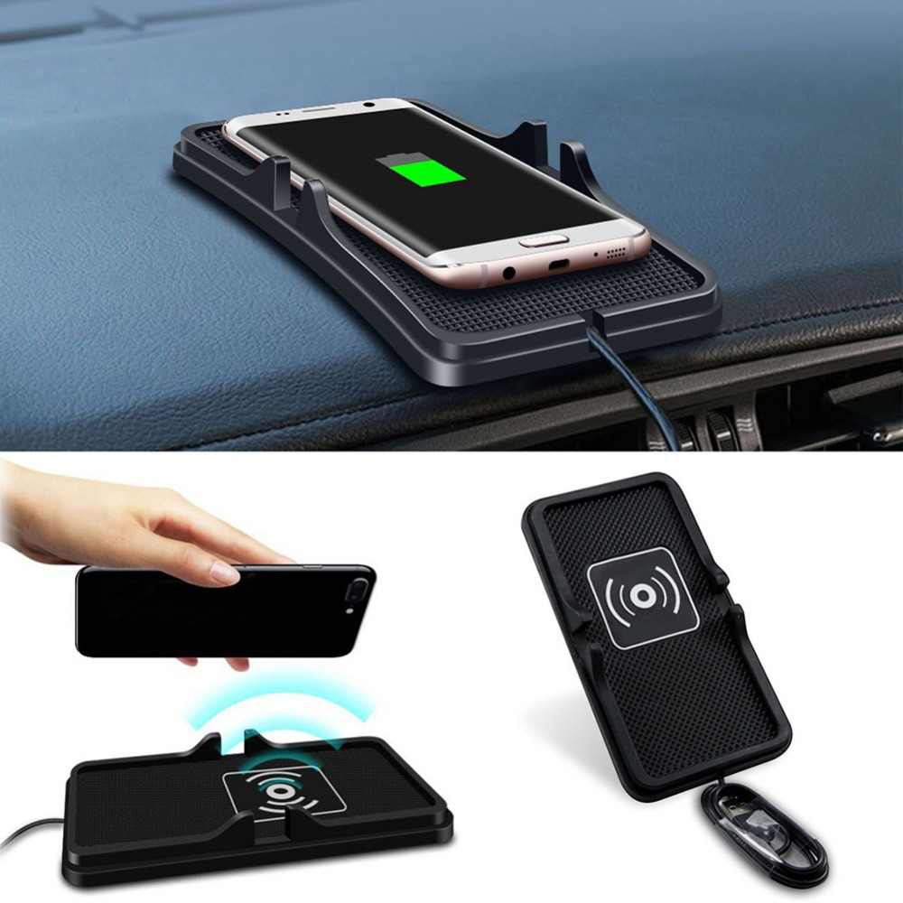 Portatile QI Wireless Caricabatteria Da Auto anti-skid emissione di ricarica senza fili pad per iphone8 8 più di x Samsung 8 per viaggi/lavoro/casa J25