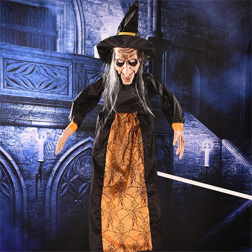 Grande taille 145*50 cm pendaison sorcière pour Halloween fête décorations Halloween horreur accessoires éclairage yeux hurlant sorcière ornements