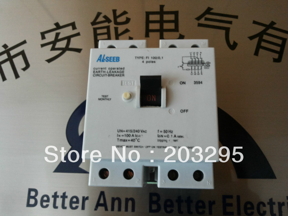 FI100 Residual Current Circuit Breaker ,4P,100A,100MA new 31624 circuit breaker compact ns250n tmd 100a 3 poles 2d
