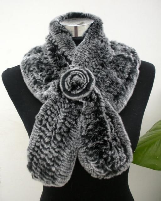 Venda quente Cachecol De Pele do Inverno Com Pele Flor de Alta Qualidade Malha Real Rex Rabbit Fur Cachecóis Mulheres Wraps Inverno YSC008