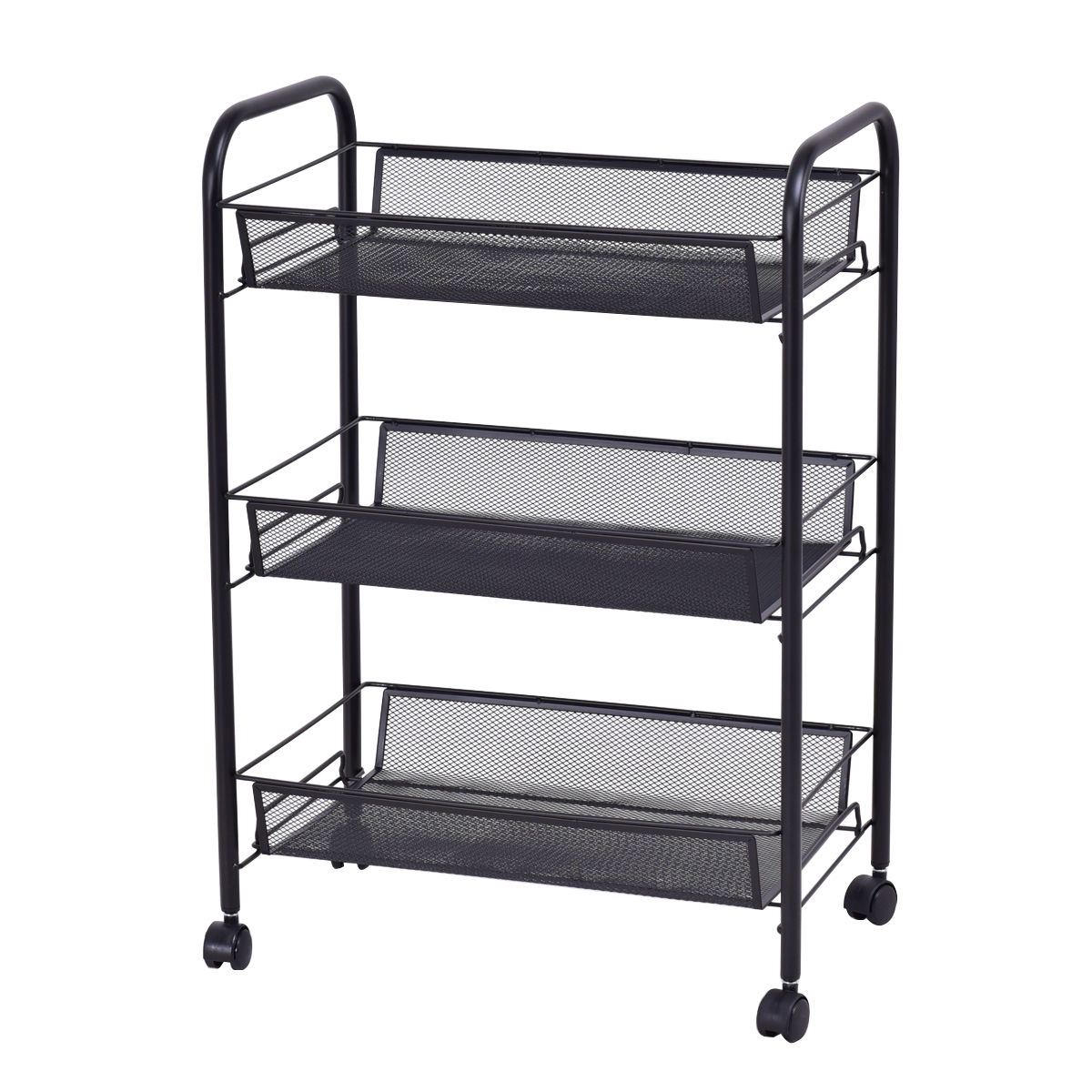 Giantex 3 Tier Mesh Rolling File Utility Cart Home Office Kitchen Storage  Basket Modern Portable Trolley Cart HW54961BK In Bookcases From Furniture  On ...