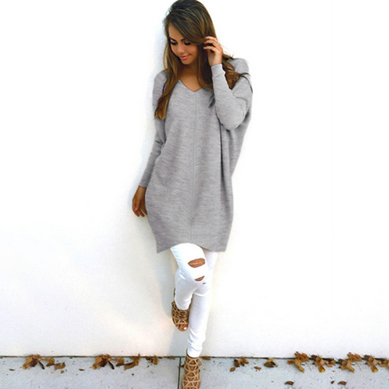 New Fashion Women Autumn V-Neck Knitted Sweatshirts Female Hoodies Long Sleeve Pullovers Casual Long Sweatshirts