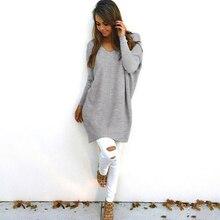New Fashion Women Autumn V-Neck Knitted Sweatshirts Female