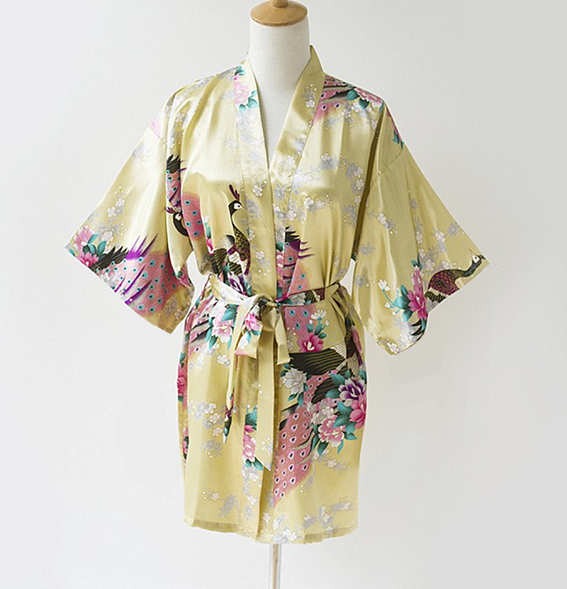 Fashion Gold Ladies Robe Kimono Mujeres Vestido Novelty China Summer Rayon Bath Gown Nightgown Plus Size S M L XL XXL XXXL S0035