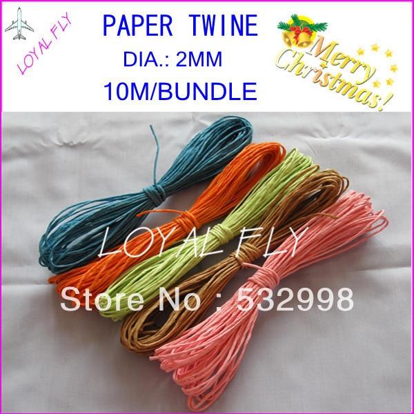 Cuerda de rafia de papel de 10 colores (10 m / paquete) 60pcs / lot, - Para fiestas y celebraciones - foto 1