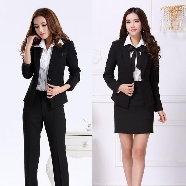 Trajes de Negocios formales para Mujeres Ropa de Trabajo Oficina Estilos  Uniformes Pantsuits Blazer Establece Femenino