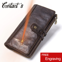Vintage Hasp Genuine Leather Wallet Large Capacity Men Purse Long Clutch Men Wallets With Zipper Coin Phone Pocket High Quality