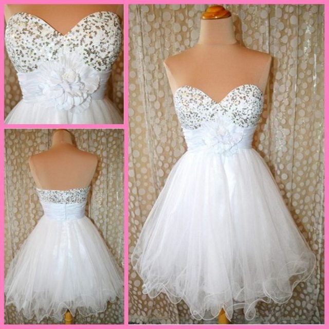 Online Shop White Pretty Party dresses Sweetheart Custom made A ...