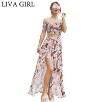 Printing T Shirt And Split Skirt Suit Two Beach Dress Woman S Fashion Casual Bobo Off