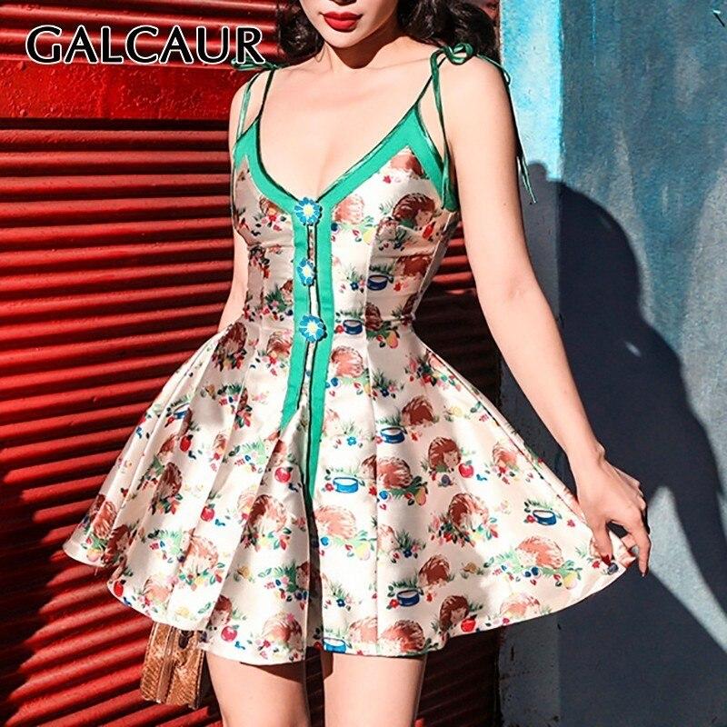 GALCAUR imprimer sans manches Sexy robe pour les femmes hors épaule taille haute Hit couleur Slim Mini robes femme mode été 2019 nouveau