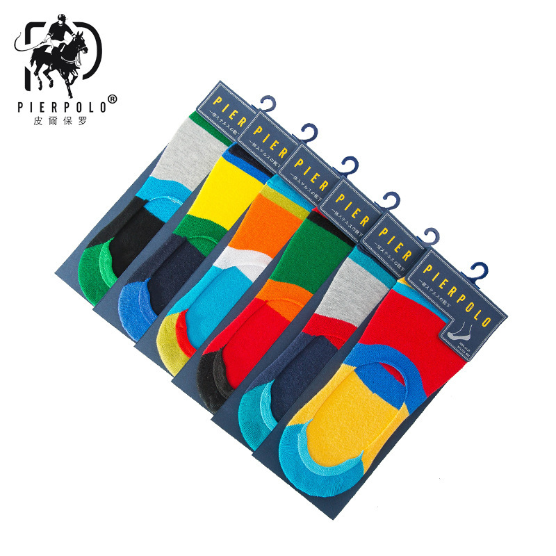 High Quality Men Socks Stripe Fashion PIER POLO Cotton Socks Men Brief Invisible Slippers Shallow Mouth No Show Socks