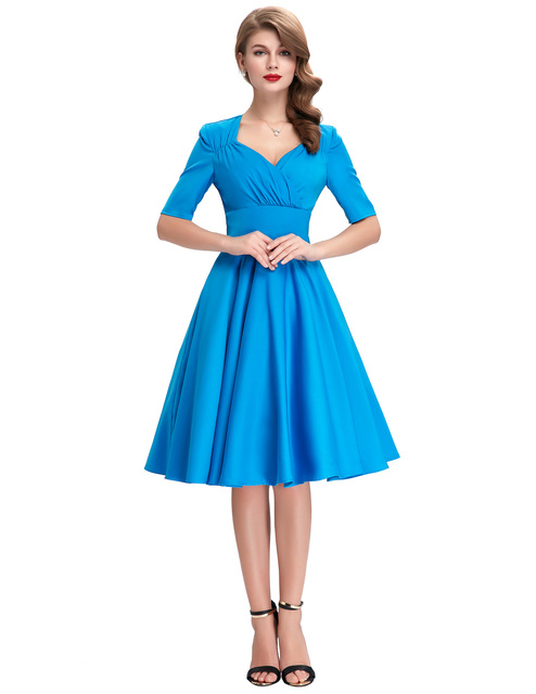 Vintage Style Swing dress elegant 1950s 60s kyliejenner victorian Retro Pinup Office work Evening wedding party Dress Blue 1