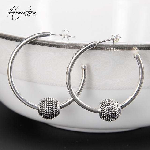 Thomas Nepal Karma Bead Hinged Hoops Earrings from Glamour Collection, European Style Jewelry, Valentine's Day Gift