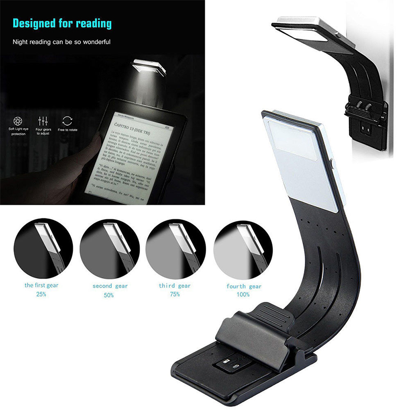 Rechargeable USB Book Lamp LED Clip Booklight Study Music Stand Portable Torch Reading Light Adjustable for Kindle/eBook Reader