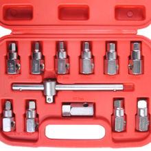 12PC Oil Drain Plug Sump Tool 3/8 Wrench Socket Key Set Filter Gearbox