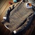 Cashmere Grossa camisola de Inverno masculina Outono gola Pullovers Marca Pullover De Lã Puxar Homme Mangas Compridas O-pescoço 2017 moda mais
