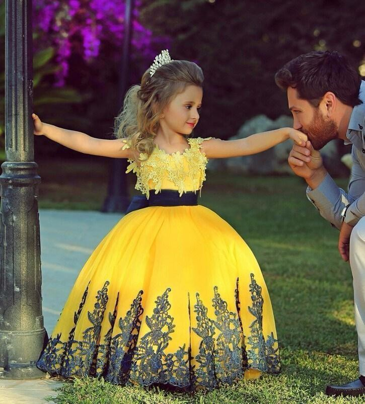 2017 Yellow Ball Gown Floor Length Girls Pageant Dresses Little ...