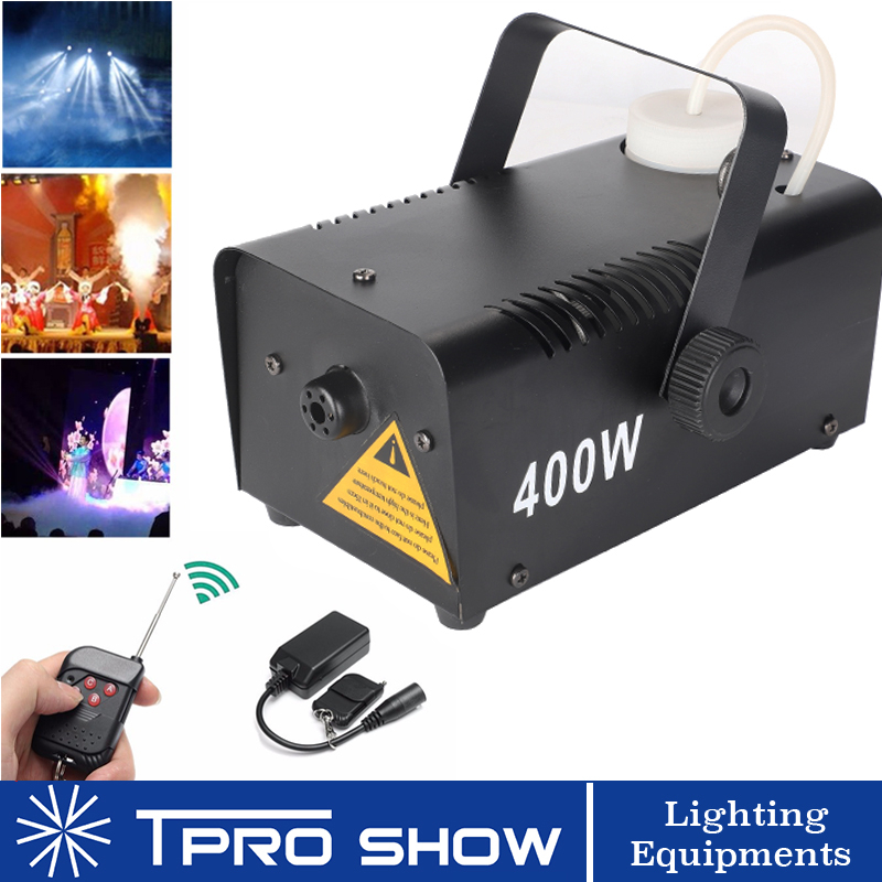Wireless Smoke Machine 400W Fogger Remote Mini Fog Generator Stage Lighting Effect For Disco DJ Party Enhance LED Beam Visible