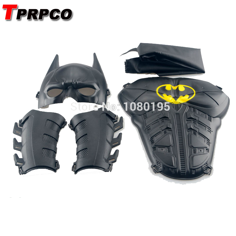 TPRPCO osplay Party costume props Bat man Batman kids costume set  half face Mask & cloak & breastplate & wristguard N100