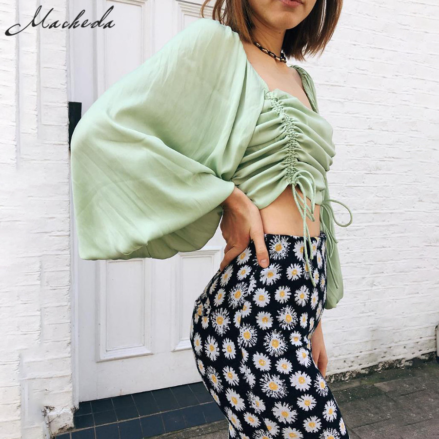 Macheda Summer Short Square Collar Women Pleated Adjustable Drawstring Tops Vintage Puff Sleeve Casual Solid T Shirt 2019 New