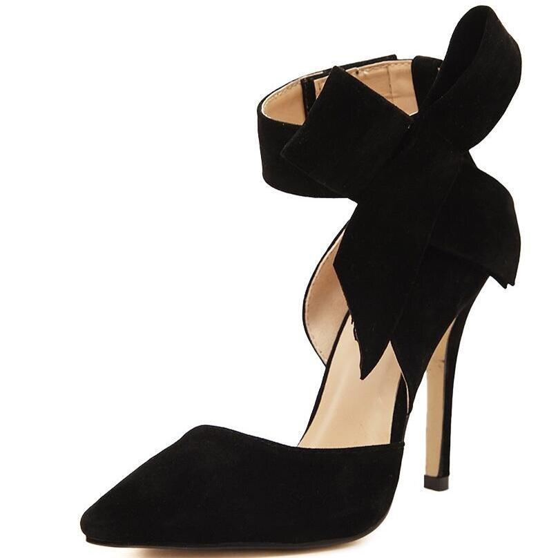 Real Noche Bombas Más Alto Pajarita Tamaño 2017 Negro Zapatos Rojo Negro rojo Grande Puntas Calzado Tacón De Primavera Dama Verano nIxq4R