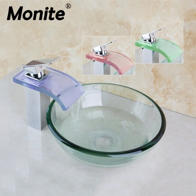 Delicieux Round Painting Bathroom Art Washbasin Tempered Clear Glass Vessel Sink With  Waterfall Glass Brass LED Faucet