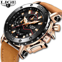 LIGE Mens Watches Top Brand Luxury Quartz Gold Watch Men Casual Leather Military Waterproof Sport Wristwatch Relogio Masculino стоимость