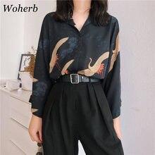 Woherb 2021 Vintage Tops y Blusas para mujer impresión Crane coreano Casual camisas de verano Blusas Femininas Elegante 21104