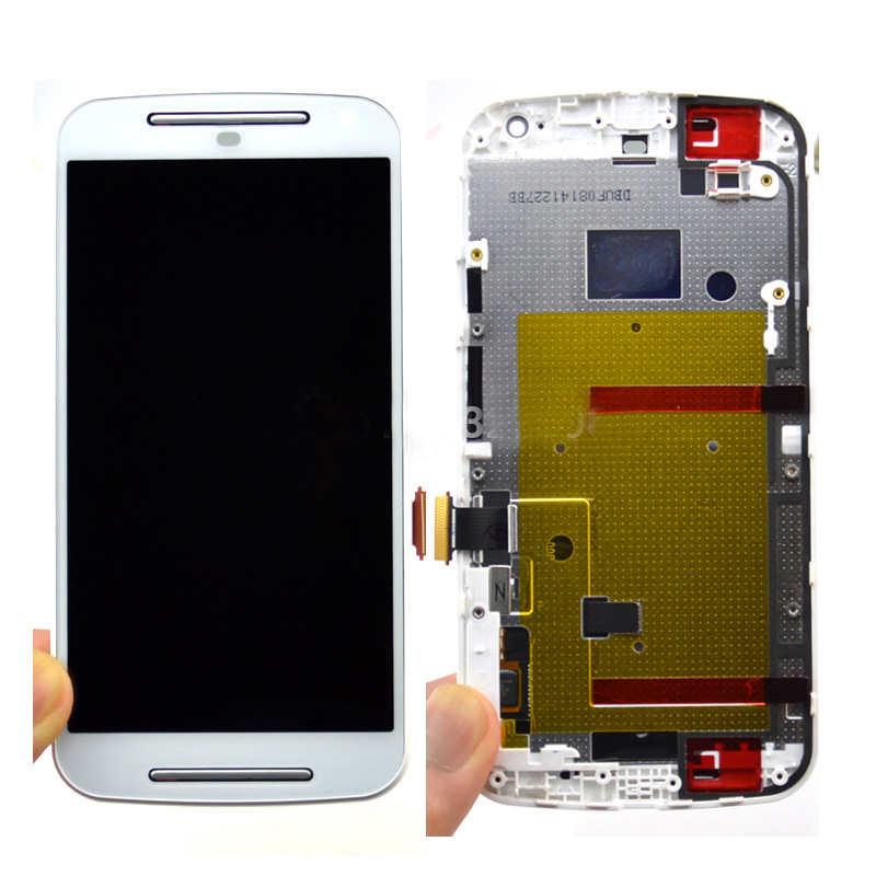ФОТО White color For Motorola for MOTO G2 XT1063  XT1064  XT1068 LCD Display Screen Touch Digitizer +Frame Assembly Free Shipping