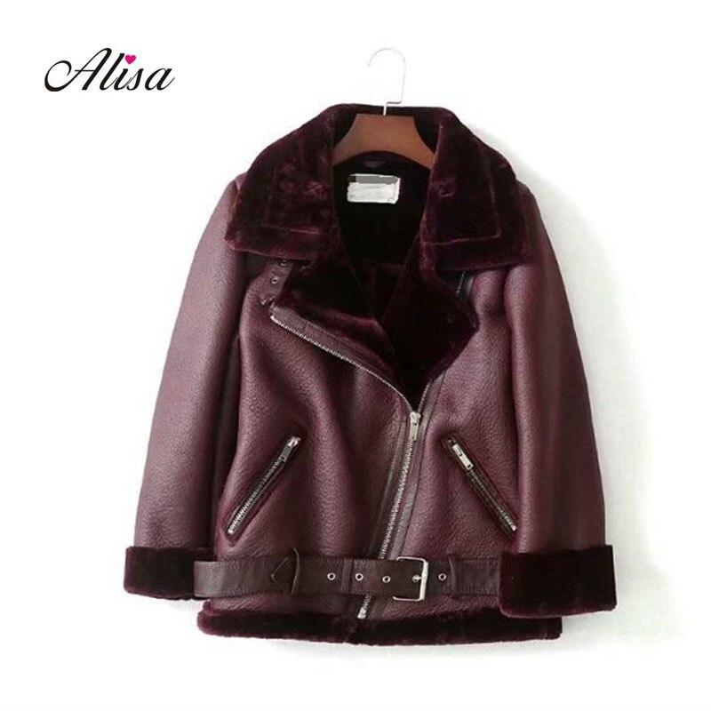 Nouveau automne hiver dames Biker veste mode rue femmes en cuir Pu veste lâche Zipper Moto noir Imitation fourrure Outwear