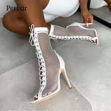 2019 New Summer Boots Sandals Black Mesh Sexy Peep Toe Lace Up Women Shoes High Heel 11.5CM Thin Heel Ladies Boots Fashion Shoes ladies transparent square high heel sandals sexy peep toe mesh ankle boots summer high heels sandals women size 34 40