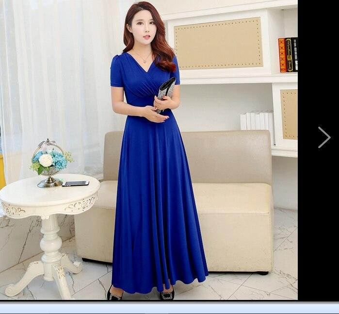 New Slim V Neck Women Summer Dress 2018 Royal Blue Casual Dress