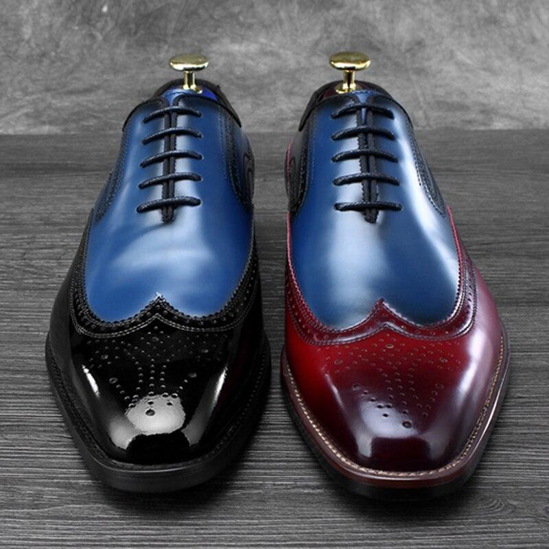 Hommes Bureau En Mariage De Nouveau Homme Appartements Couleurs Cuir Luxe Noir Rouge vin Ss486 Oxford Chaussures Formelle Mixte Robe Véritable Sculpté Richelieu Party qSawTxZnS