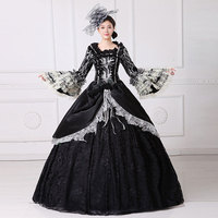 Customized 2018 Fashion Masquerade Party Dress Square Collar Long Flare Sleeve 18th Century Rococo Baroque Ball Gowns For Women