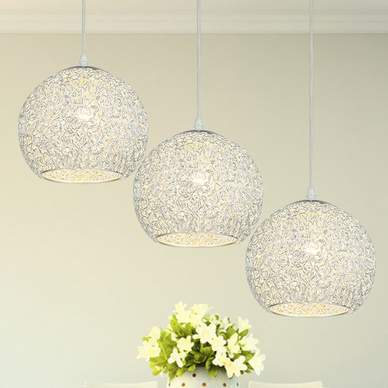 Simple modern aluminum ball pendant lights living room dining room bedroom hotel pendant lamp Silver blue red single FG291 modern simple creative pendant light bar hotel pendant decorative light aluminum crystal pendant lights bedroom lamp lighting