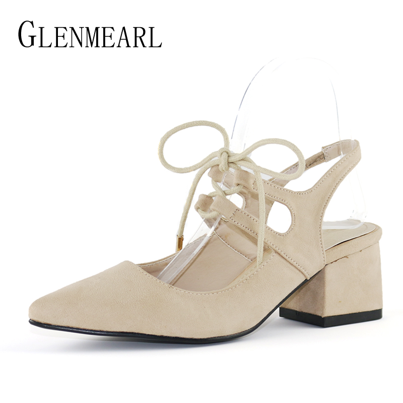 High Heels Shoes Women Pumps Brand Fashion Square Heel Quality Shoes Woman Pointed Toe Ankle Strap Mules Party Shoes Flock DE цена