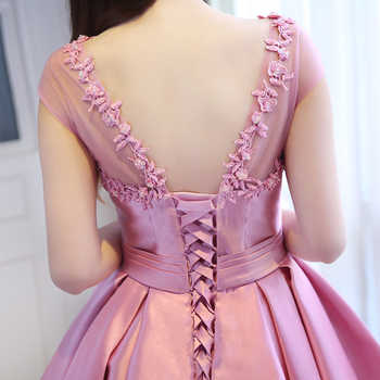 JIERUIZE Pink Satin Ball Gown High Low Prom Dresses Front Short Long Back Arabic Evening Dresses Cheap Formal Dresses