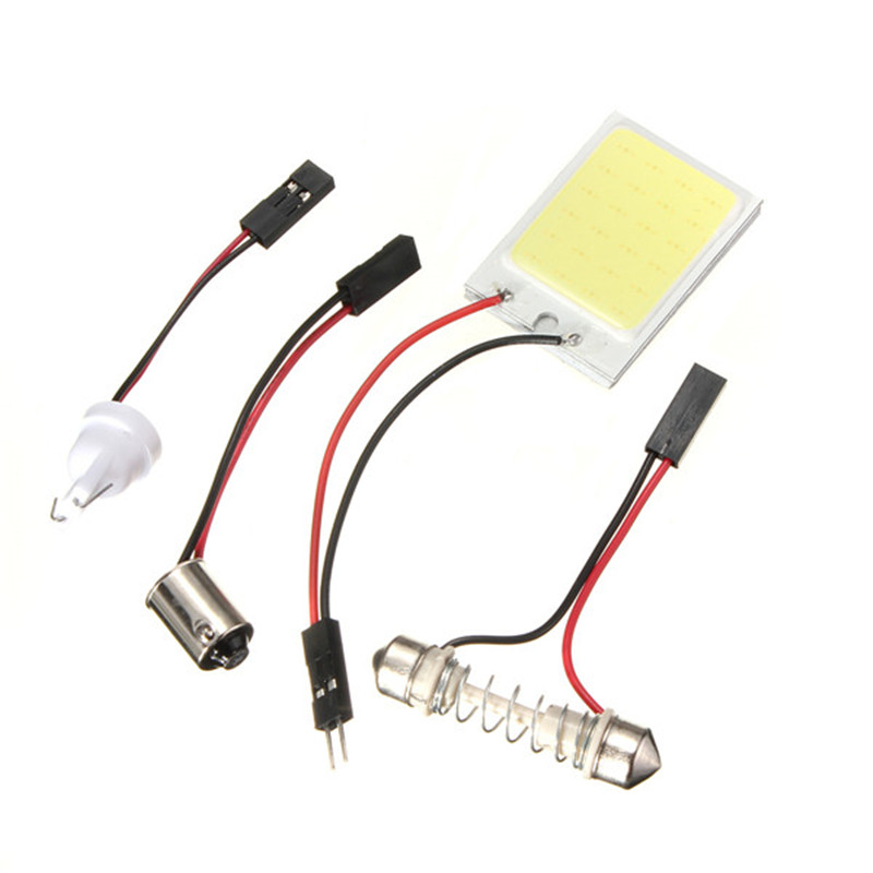 2pcs T10 24 SMD COB LED Panel Dome Festoon BA9S 3 Adapters Car Auto Interior Reading Lamp dome Light Source car styling Hot sale