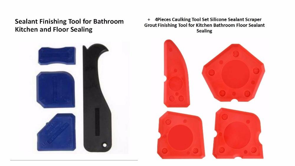 5sets Per Order 4pcs Silicone Sealant Finishing Tool And 4pcs Caulking Tool Set Silicone Sealant Scraper Grout Finishing Tool