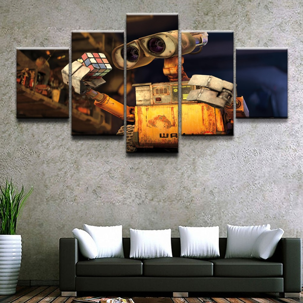 Canvas HD Prints Picture For Living Room Home Decor 5 Pieces Movie Robot Rubik 39 s Cube Wall E Paintings Wall Art Poster Framework in Painting amp Calligraphy from Home amp Garden