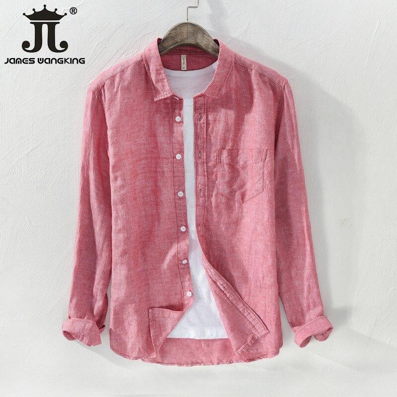 Men's Cotton And Linen Long-sleeved Shirt -Size:M-XXXL
