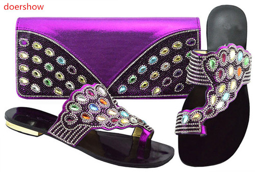 doershow  New purple color Italian Shoes With Matching Bags African Women Shoes and Bags Set For Prom Party Summer Sandal!BF1-4doershow  New purple color Italian Shoes With Matching Bags African Women Shoes and Bags Set For Prom Party Summer Sandal!BF1-4
