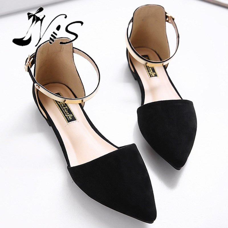 65815d2b0654 NIS Women s Pointed Toe Moccasins Ballet Flats Pink Black Beige Metal Ankle  Strap Flat
