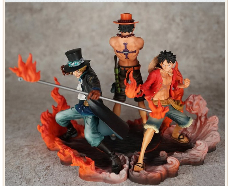 Anime One Piece Ace Luffy Sabo Fire Fist 3pcs/set PVC Action Figure Toy Collection Model Gift anime cartoon one piece sabo 25cm action figure collection pvc model children toy gift