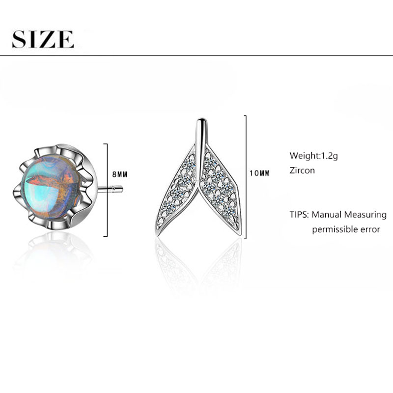 New Fashion Jewelry Simple Delicate 925 Sterling Silver Asymmetrical Micro Zircon Fish Tail Earrings For Women Gift oorbellen in Stud Earrings from Jewelry Accessories