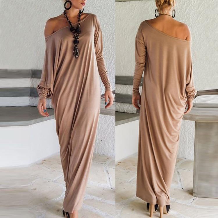 Good quality New Autumn style Women Maxi Dresses fall Long Sleeve ...