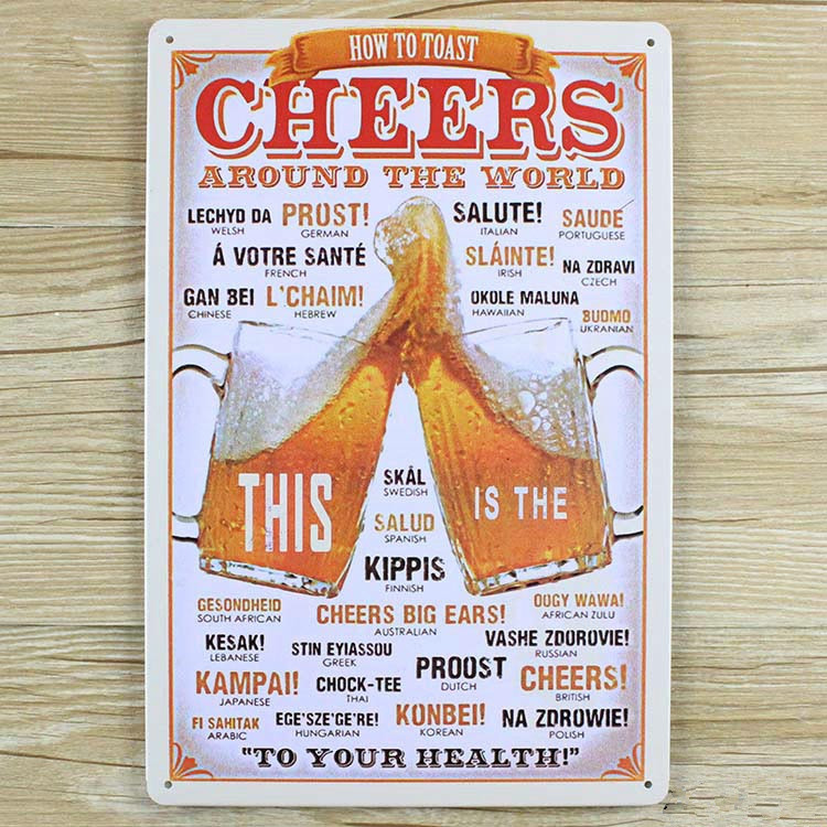 UA-0077 cheers around the world beer vintage home decor vintage Tin signs for bar vintage decorative plates wall art  20x30cm