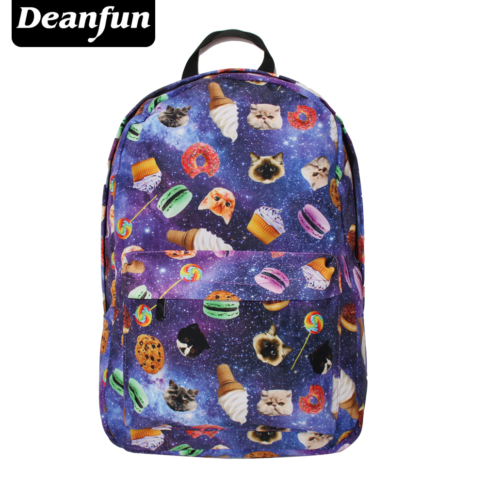 Deanfu Women Canvas Backpacks Smiley Emoji Face Printing School Bag For Teenagers Girls Shoulder Bag Mochila SB7